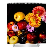 Apples And Suflowers Shower Curtain