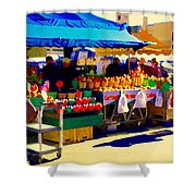 Apples Cortlands Lobos Honey Crisps Mcintosh Atwater Market Apple Fruit Stall Foodart Carole Spandau Shower Curtain