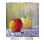 Apples On A Table Shower Curtain