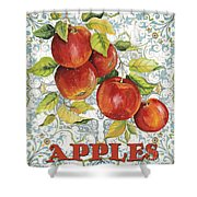 Apples On Damask Shower Curtain