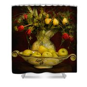 Apples Pears And Tulips Shower Curtain