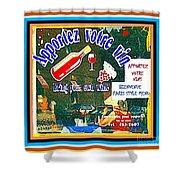 Apportez  Votre Vin Vintage French Bistro Signage Paris Style Menu Poster Decor Painting Cspandau Shower Curtain