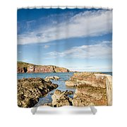 Approach To St Abbs Harbour Shower Curtain