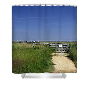 Approach To The Wooden Bridge - Newtown Shower Curtain