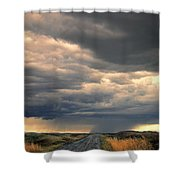 Approaching Storm On Country Road Shower Curtain