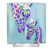 Aqua And Purple Loving Giraffes Shower Curtain