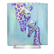 Aqua And Purple Loving Giraffes Shower Curtain