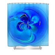 Aqua Blue Orb Shower Curtain