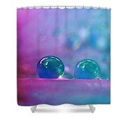 Aqua Blue Water Droplets Shower Curtain
