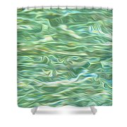 Aqua Green Water Art 2 Shower Curtain