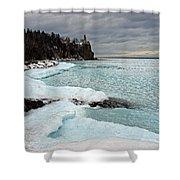 Aqua Ice At Split Rock Lighthouse Shower Curtain
