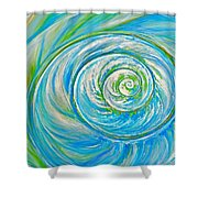 Aqua Seashell Shower Curtain