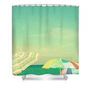 Aqua Sky With Umbrellas Shower Curtain