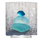 Aquamarine Ice Light Shower Curtain