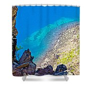 Aquamarine Shoreline At North Junction Of Crater Lake In Crater Lake National Park-oregon Shower Curtain