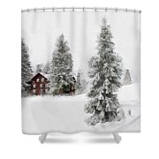 Aquarell - Beautiful Winter Landscape With Trees And House Shower Curtain