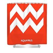 Aquarius Zodiac Sign White On Orange Shower Curtain