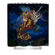 Aquatic Goddess On Unicorn Seahorse Shower Curtain