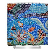 Aquatic Mosaic Tile Art Shower Curtain