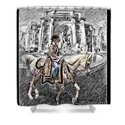 Arabian Horse Black And White Shower Curtain