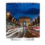 Arc De Triomphe At Dusk Paris Shower Curtain
