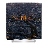 Arc De Triomphe From Above Shower Curtain