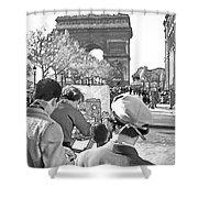 Arc De Triomphe Painter - B W Shower Curtain
