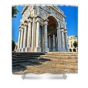 arc of triumph in Piazza Della Vittoria - Genova Shower Curtain