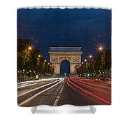 Arch De Triomphe And Avenue Des Champs Elysees Paris France Shower Curtain