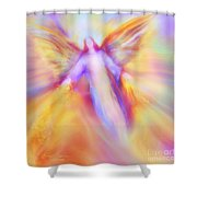 Archangel Uriel In Flight Shower Curtain