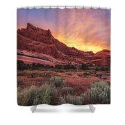 Arches Fire In The Sky Shower Curtain