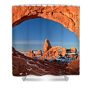 Arches Window Frame Shower Curtain