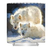 Arctic Wolves - Painterly Shower Curtain