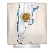Argentina Map Art With Flag Design Shower Curtain