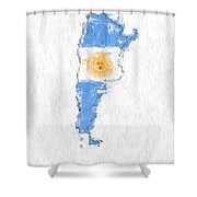 Argentina Painted Flag Map Shower Curtain