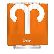 Aries Zodiac Sign White On Orange Shower Curtain