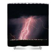 Arizona  Lightning Over City Lights Shower Curtain