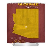 Arizona State University Sun Devils Glendale College Town State Map Poster Series No 012 Shower Curtain