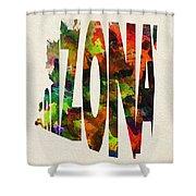 Arizona Typographic Watercolor Map Shower Curtain