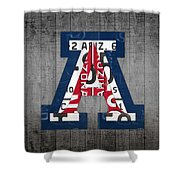 Arizona Wildcats College Sports Team Retro Vintage Recycled License Plate Art Shower Curtain