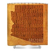 Arizona Word Art State Map On Canvas Shower Curtain