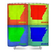 Arkansas Pop Art Map 1 Shower Curtain by Naxart Studio