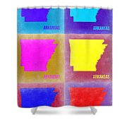 Arkansas Pop Art Map 2 Shower Curtain by Naxart Studio