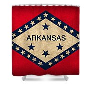 Arkansas State Flag Art On Worn Canvas Shower Curtain by Design Turnpike