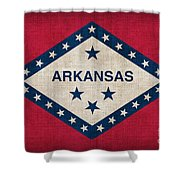 Arkansas State Flag Shower Curtain by Pixel Chimp