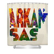Arkansas Typographic Watercolor Map Shower Curtain