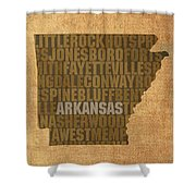 Arkansas Word Art State Map On Canvas Shower Curtain
