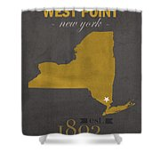 Army Black Knights West Point New York Usma College Town State Map Poster Series No 015 Shower Curtain