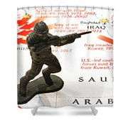 Army Man Standing On Middle East Conflicts Map Shower Curtain