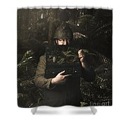 Army Soldier With Security Screen Saver Shower Curtain